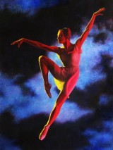 Painting of Red Dancer by Gary Brunson for art gallery