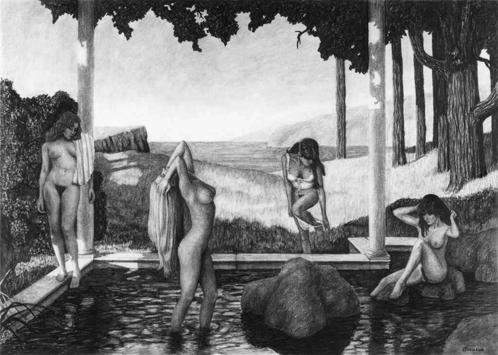 Charcoal drawing The Wading Pool by Gary Brunson