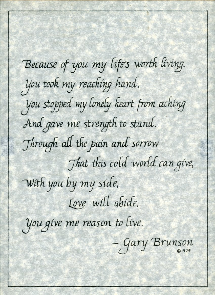 """Poem """"Because"""" calligraphy on parchment by Gary Brunson"""