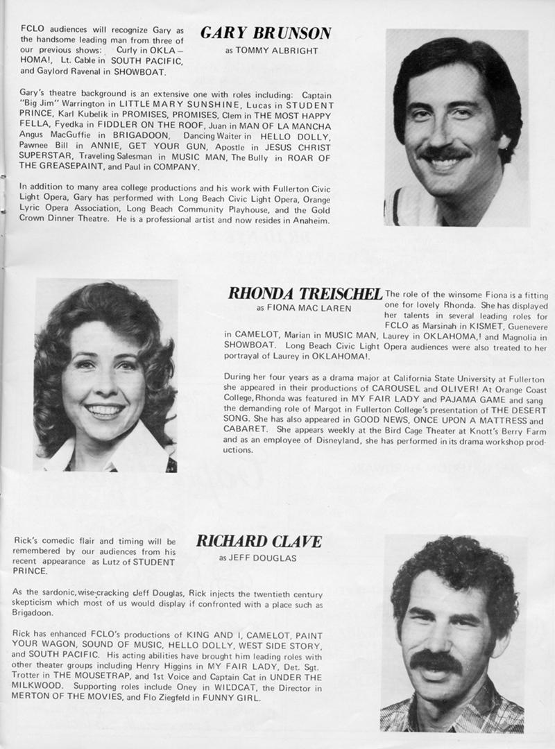 Brigadoon program bios of Gary Brunson, Rhonda Treischel, and Richard Clave.
