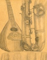 Pencil Drawing of Mandolin and Sax by Gary Brunson for Gary Brunson Bio